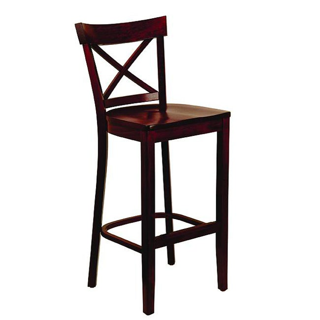 Dark Mahogany Wood Seat X Back Barstool Free Shipping
