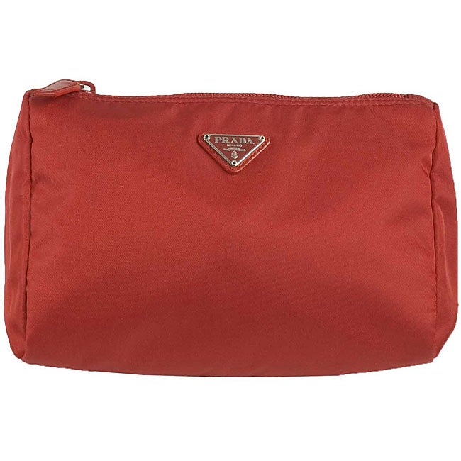 94430be7171a Shop Prada  Vela  Red Small Nylon Cosmetic Case - Free Shipping ...