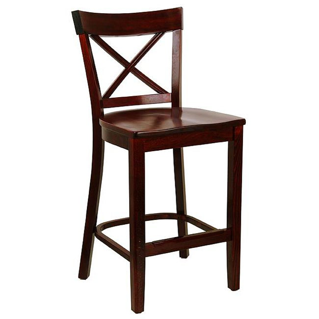dark mahogany x back wood seat counter stool free shipping today 11436719. Black Bedroom Furniture Sets. Home Design Ideas