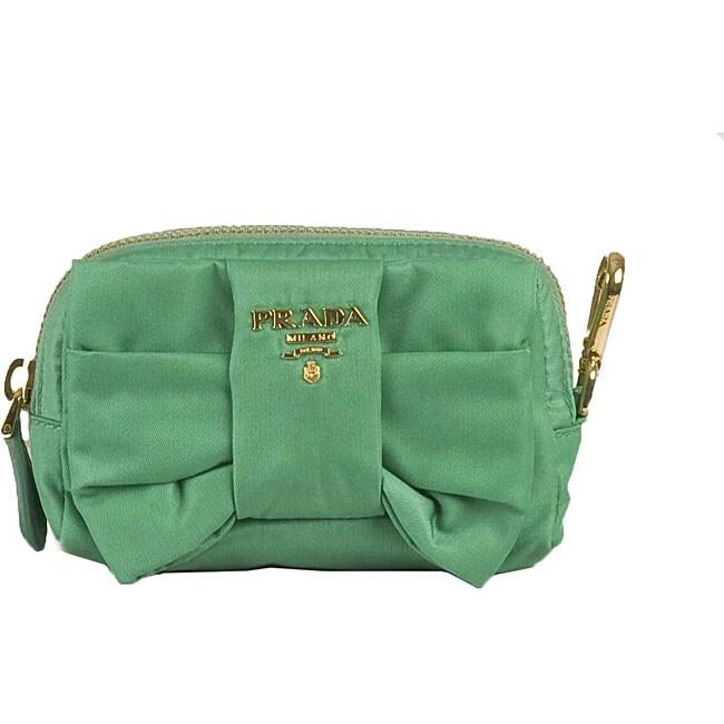 Prada 'Tessuto Fiocco' Green Nylon Cosmetic Case
