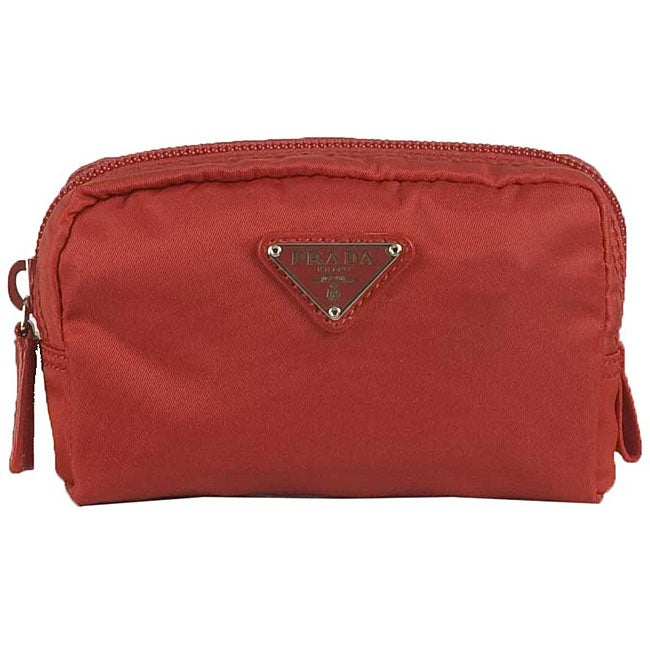 38cec1627696 Shop Prada 'Vela' Red Mini Nylon Cosmetic Case - Free Shipping Today ...