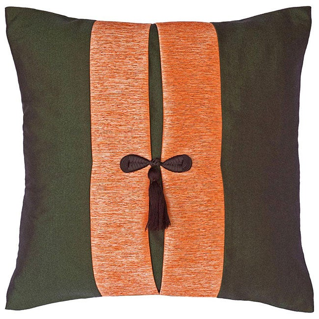 Forest Green and Salmon Thai Silk Cushion Cover