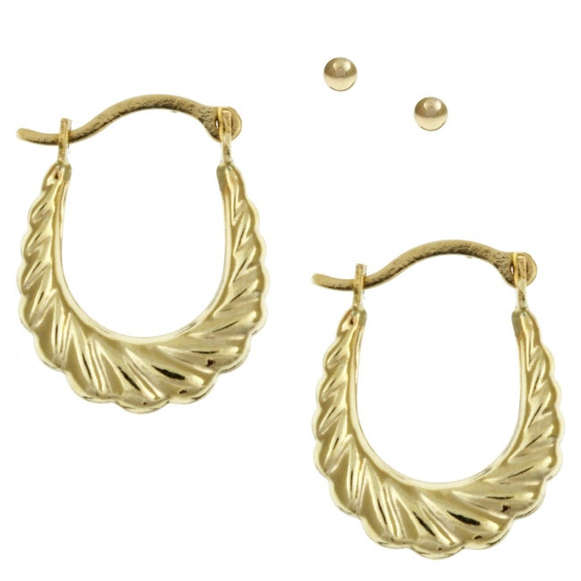 gold shrimp earrings gioelli 10k yellow gold and shrimp hoop earrings set 3028