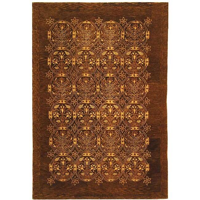Safavieh Handmade Royalty Dark Olive New Zealand Wool Rug - 5' x 8'