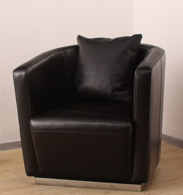 Tovano Swivel Black Leather Chair With Cushion