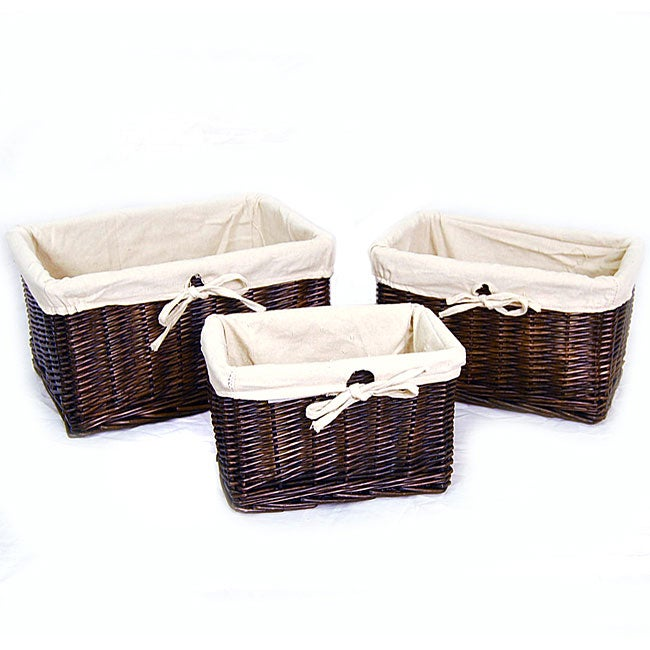High Quality Wicker Beige Fabric Liner Storage Basket (Set Of 3)