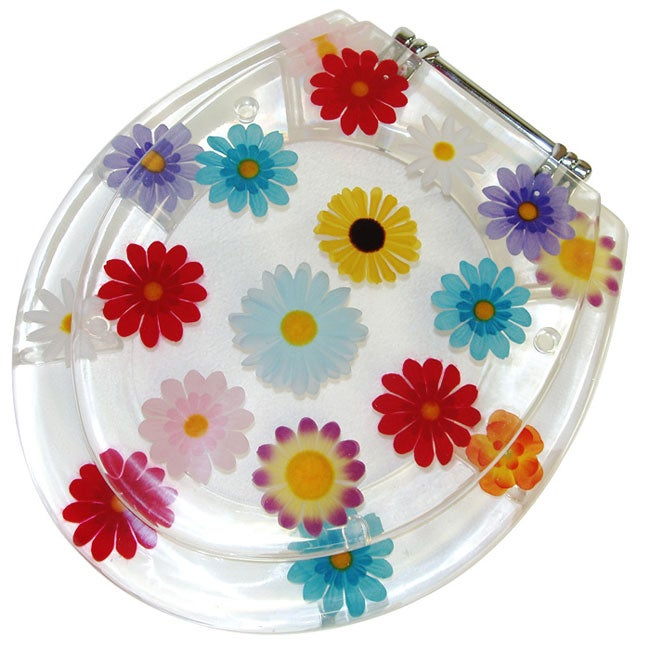 Clear Acrylic Floral Toilet Seat Free Shipping Today