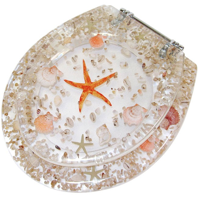 Shop Clear Acrylic Toilet Seat With Sea Shells Free Shipping Today