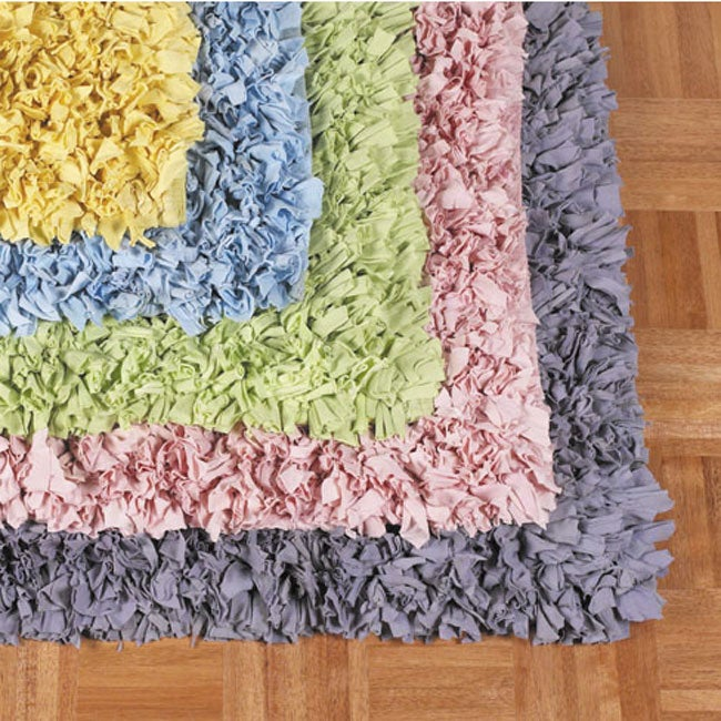Jersey Cotton Shag Rug 4 9 Round Free Shipping Today