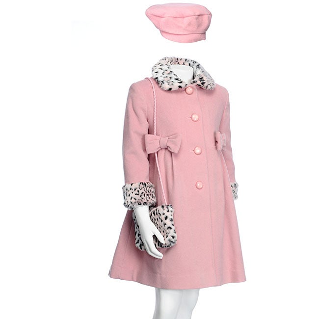 Rothschild Girl's Pink 3-piece Wool Coat Set - Free Shipping Today