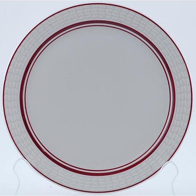 Rego Royale 9 Inch Troy Burgundy Rim Plates Set Of 12