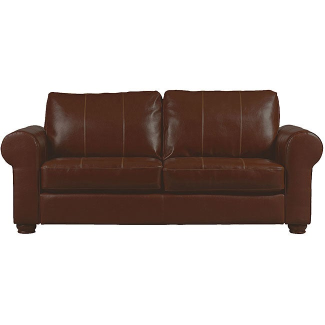 Olga Saddle Brown Leather Rolled Arm Sofa - Free Shipping Today - Overstock.com - 11446069