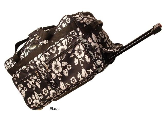 Hawaiian Print Rolling Duffle Bag