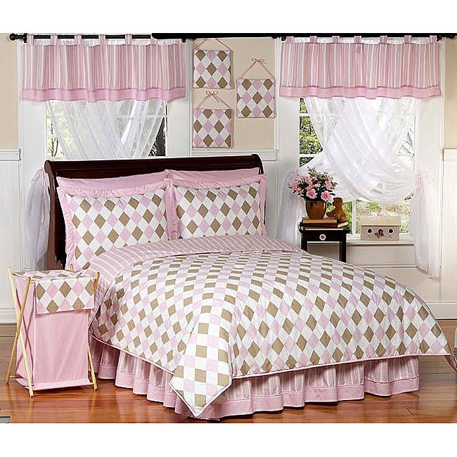 Pink And Brown Argyle Teen Bedding Set Free Shipping