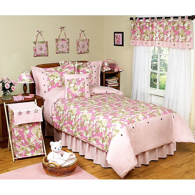 Pink and Khaki Camouflage Full/Queen Bedding Set