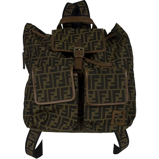 Fendi Brown Leather Trimmed Backpack