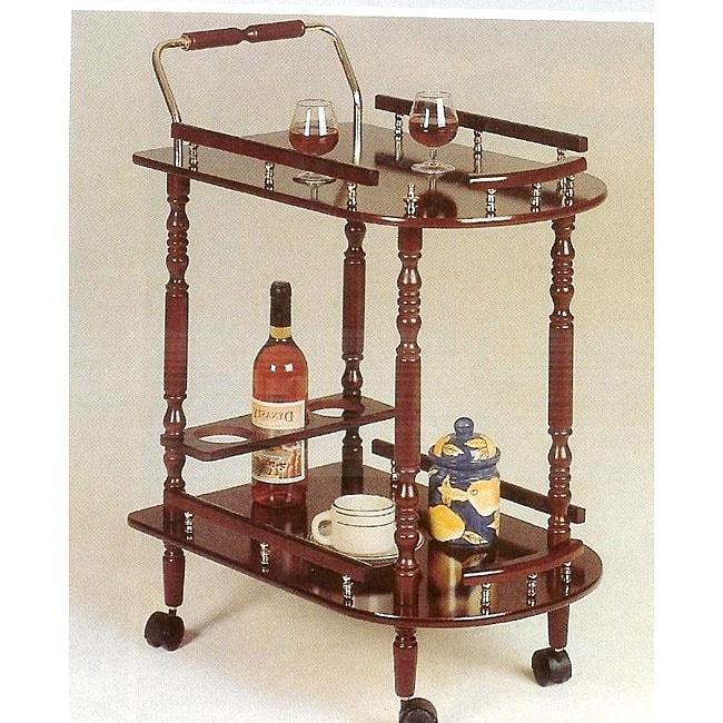 Rolling Brass Accent Hardwood Kitchen Cart