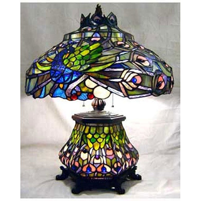Tiffany Style Peacock Stained Glass Table Lamp Free