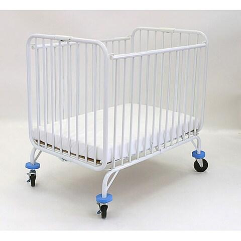 LA Baby Compact Folding Metal Crib with Mattress