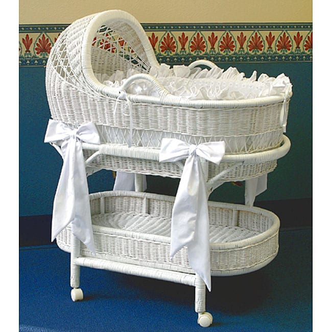 LA Baby Wicker Bassinet and Bedding Set