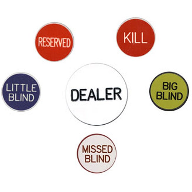 Texas Holdem Buttons (Pack of 6)