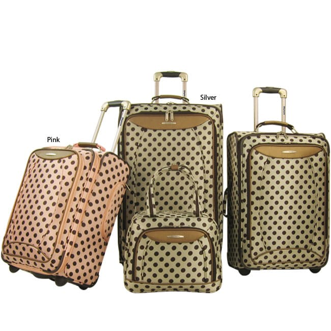 Olympia Spearmint 4-piece Polka Dot Luggage Set - Free Shipping ...