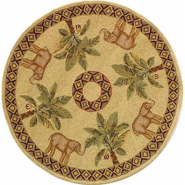 Safavieh Hand-hooked Elephant And Palm Ivory Wool Rug (3