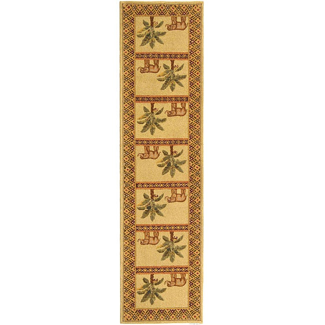Safavieh Hand-hooked Elephant and Palm Ivory Wool Runner (2'6 x 10')