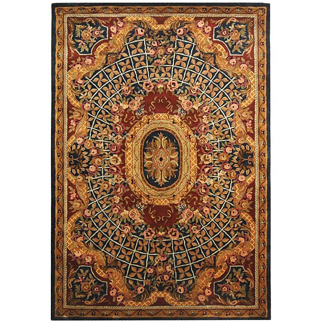 Safavieh Handmade Empire Royal Blue/ Burgundy Wool Rug (9'6 x 13'6)