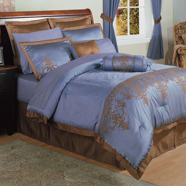 Blue Jacquard 22-piece Queen Comforter Set