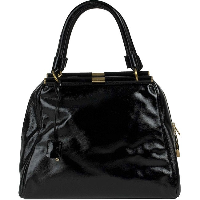 YSL 'Majorelle' Black Patent Leather Medium Bag