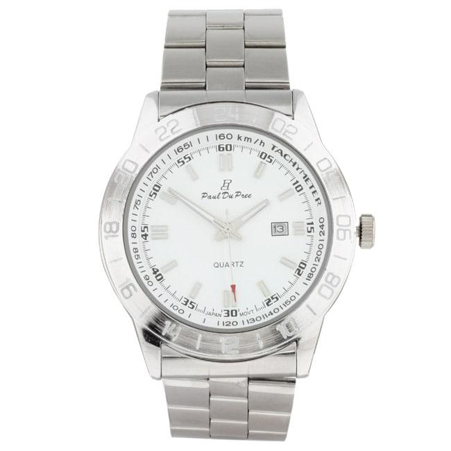Paul Du Pree Steel Men's White Dial Watch
