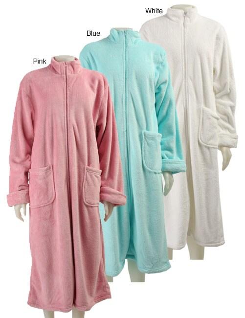 Dream Lover Women's Solid Zip-front Long Robe