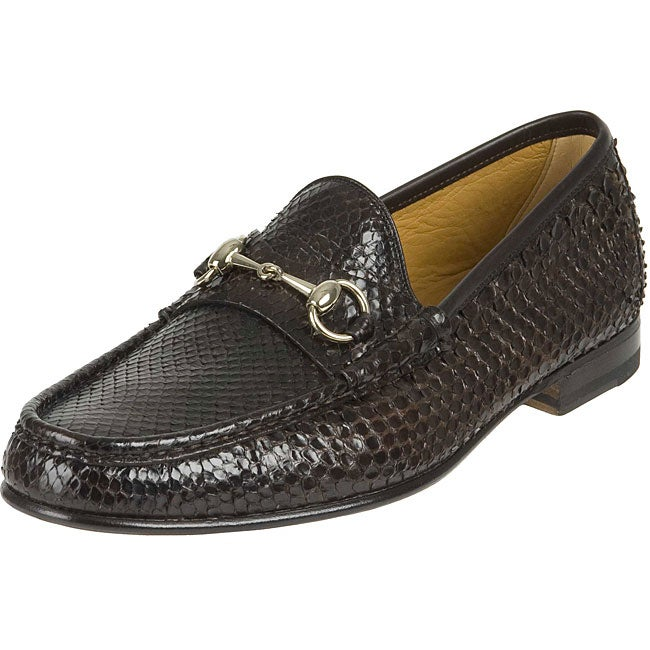 Gucci Men S Shiny Python Horsebit Dress Shoes Free Shipping Today Overstock Com 11460798