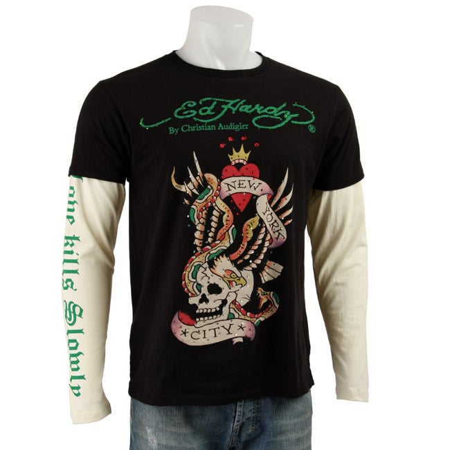 8bf72de8cd7 Shop Ed Hardy Men's Premuim New York City Double Sleeve Shirt - Free  Shipping Today - Overstock - 3374752