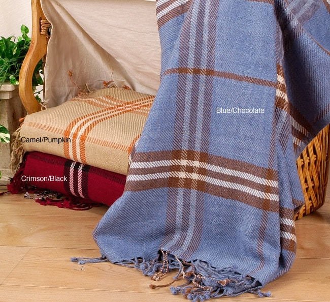 Himalayan Luxury Cashmere Plaid Throw Blanket
