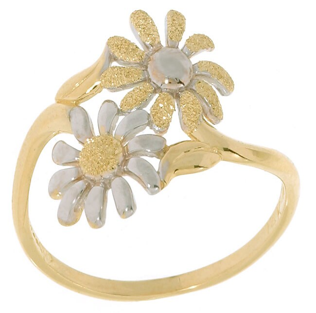 14k Two-tone Gold Daisy Ring