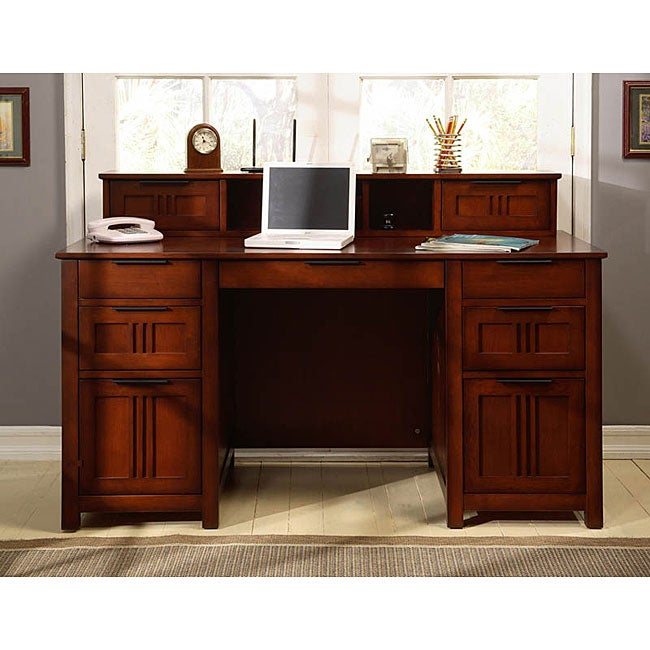 Cherry Mission Style Executive Desk Free Shipping Today