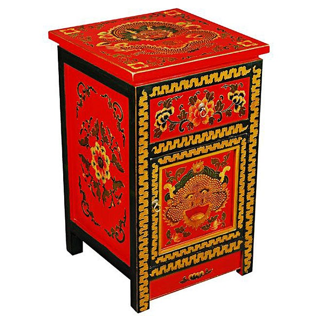 Tibetan Red Hand-painted Dragon's End Table