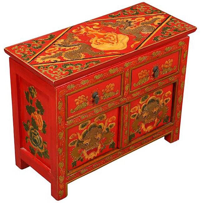 Hand Painted Tibetan Red Dragons Storage Cabinet Free