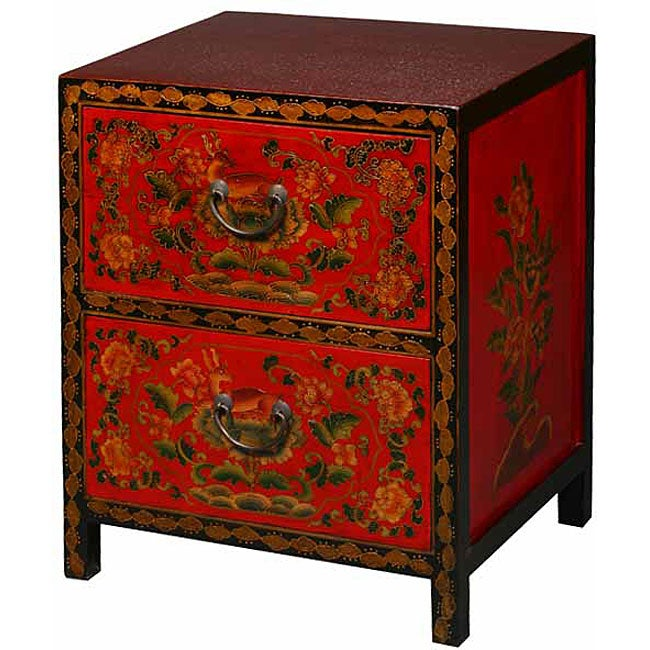 Tibetan Red/ Black Hand-painted Floral End Table