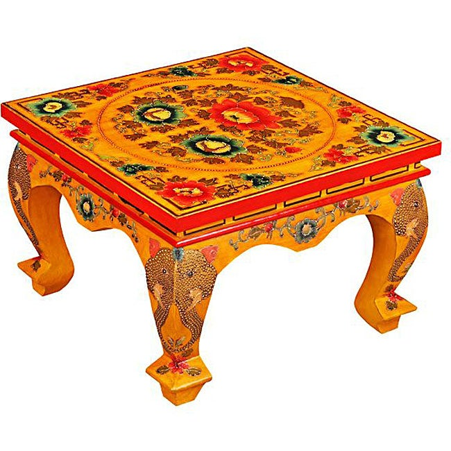 Red Tibetan Hand-painted Elephant Coffee Table