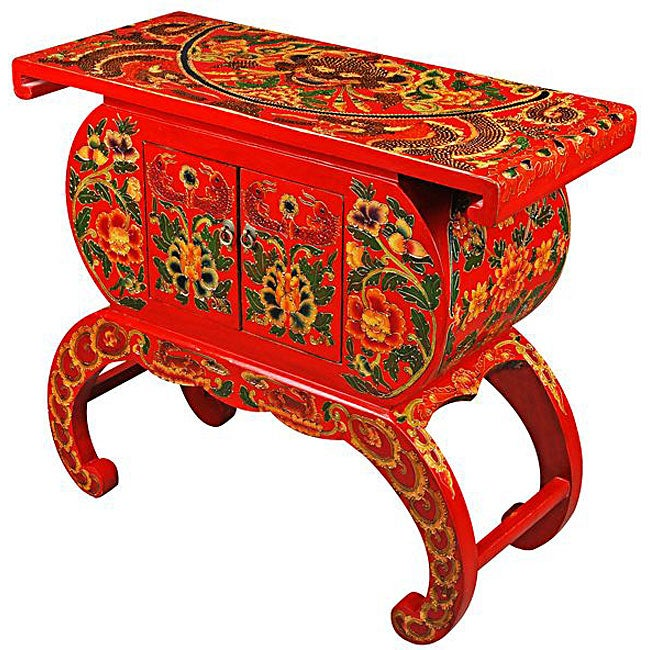 Terrific Red Tibetan Hand Painted Floral Motif Accent Table Home Interior And Landscaping Dextoversignezvosmurscom