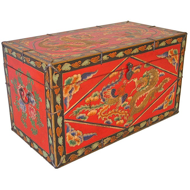Tibetan Hand Painted Red Coffee Table/ Chest