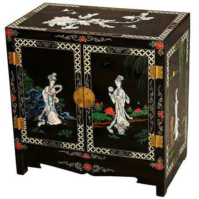 Mother of Pearl and Black Lacquer Storage Cabinet