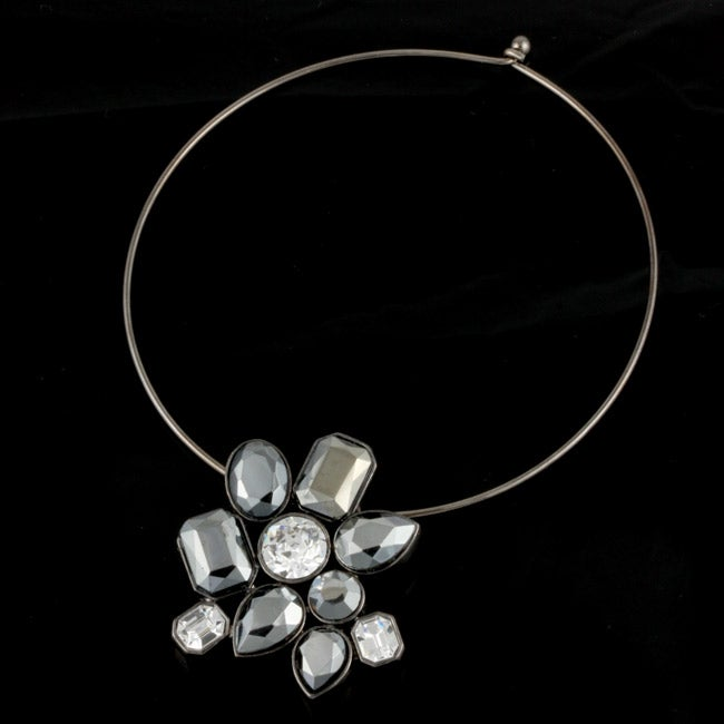 R.J. Graziano Gunmetal Resin Stone Necklace