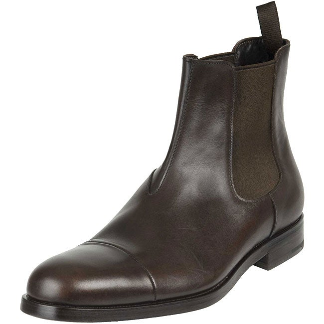 prada s chelsea brown leather boots free shipping