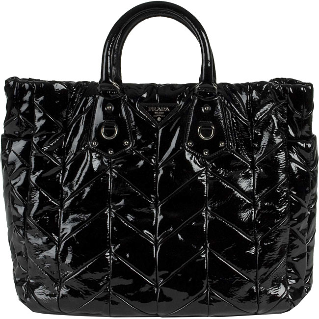 2dda38fcb Shop Prada Black Patent Leather Quilted Tote Bag - Free Shipping Today -  Overstock - 3407881