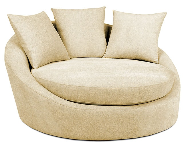 Roundabout Textured Cream Low Circle Chair Free Shipping