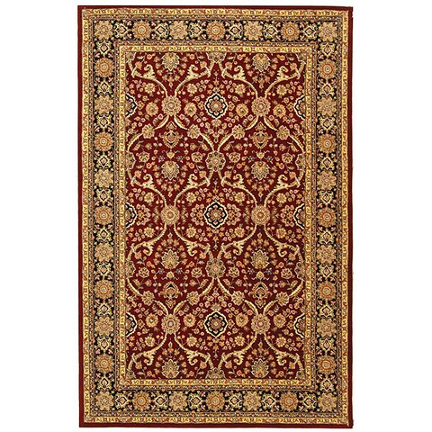Safavieh Handmade Persian Court Traditional Red / Black Wool Rug - 6' x 9'
